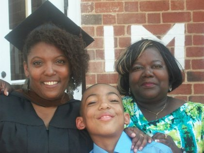 Jonterri, left, pictured with son and mother at MFA graduation
